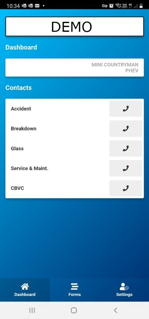 Driver App showing All the numbers to call for the driver